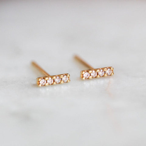 solid gold dainty diamond bar stud earrings yellow gold modern heirloom jewelry