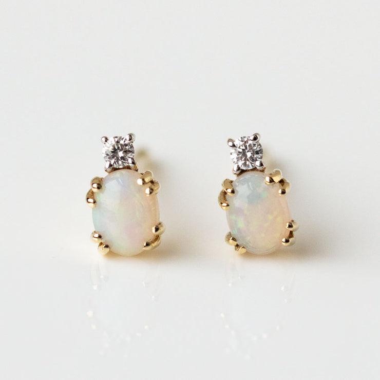 Bia Blooms for Family Gold Solid Gold Opal & Diamond Stud Earrings yellow gold dainty floral inspired jewelry
