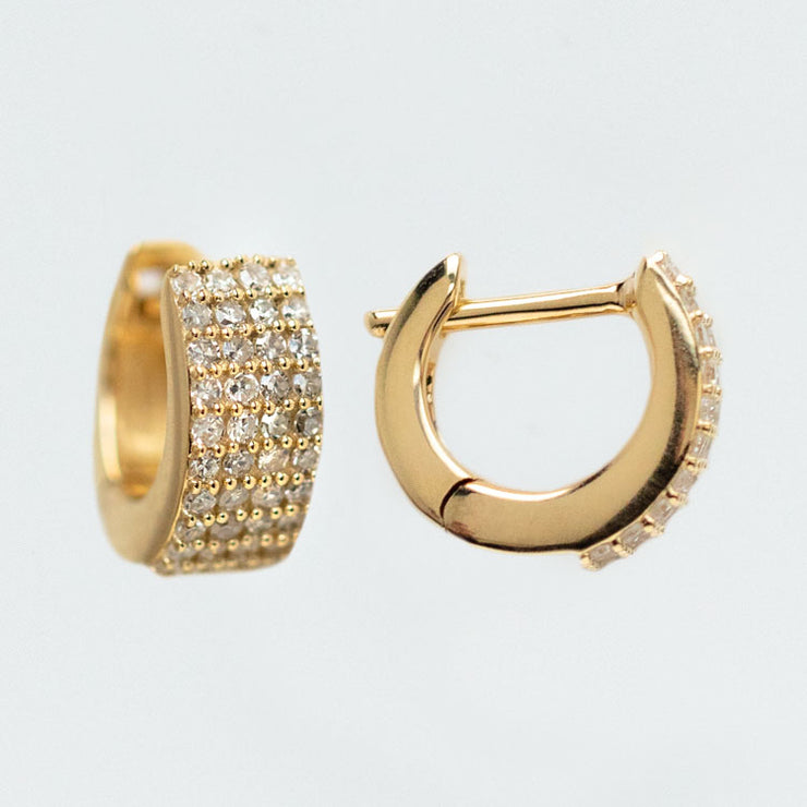 Solid Gold Chunky Pave Diamond hoops yellow gold statement jewelry family gold