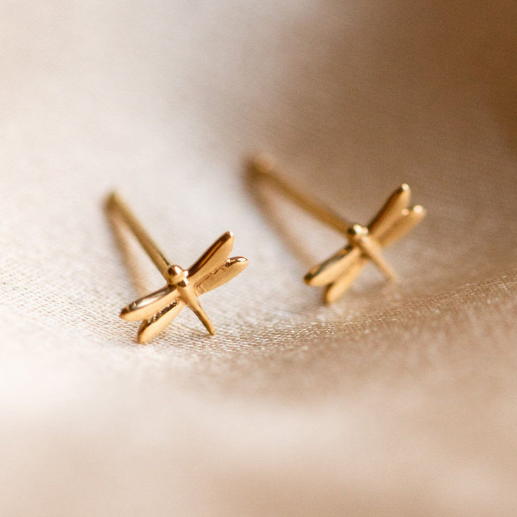 Solid Gold Dragonfly Studs fine yellow gold dainty jewelry