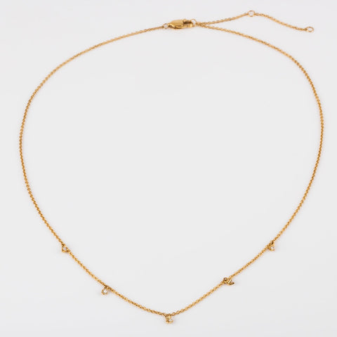 Solid Yellow Gold Diamond Sprinkle Necklace Family Gold Fine Jewelry