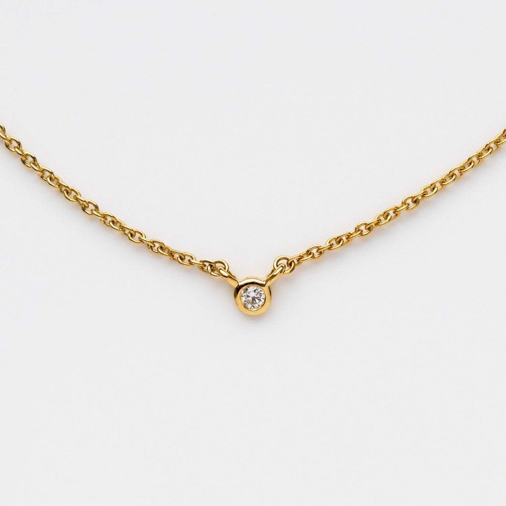 Solid Yellow Gold Solo Diamond necklace Family gold jewelry
