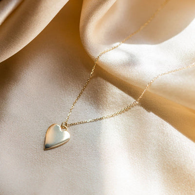 solid gold heart charm necklace modern dainty fine yellow gold jewelry