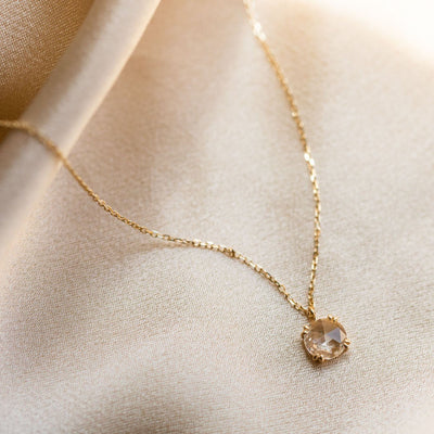 Solid Gold Shimmering White Sapphire Pendant Necklace
