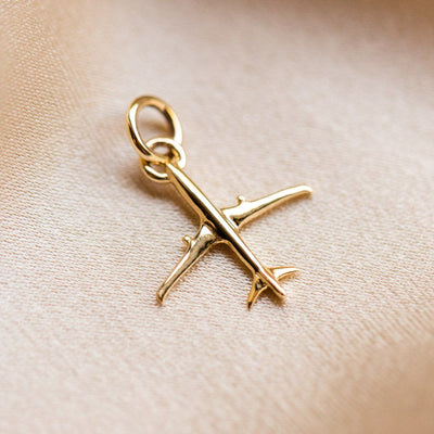 Solid Gold Airplane Charm