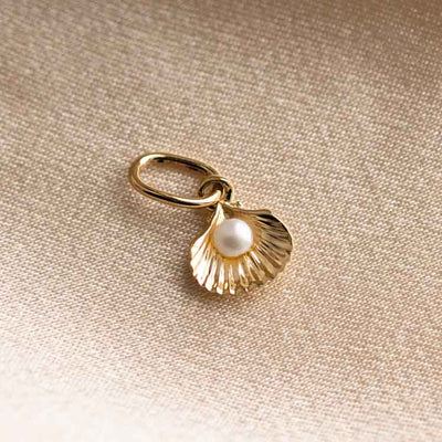 Solid Gold Shell & Pearl Charm dainty yellow gold fine jewelry