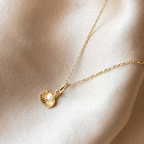Solid Gold Shell & Pearl Charm