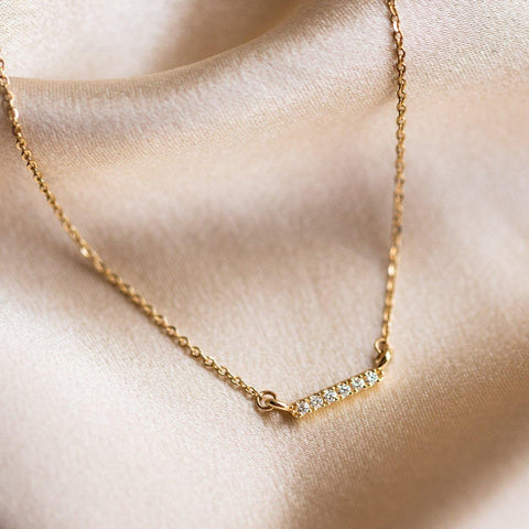 solid yellow gold diamond bar necklace fine yellow gold family gold jewelry