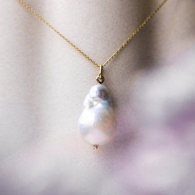 Solid Gold Organic Pearl Charm