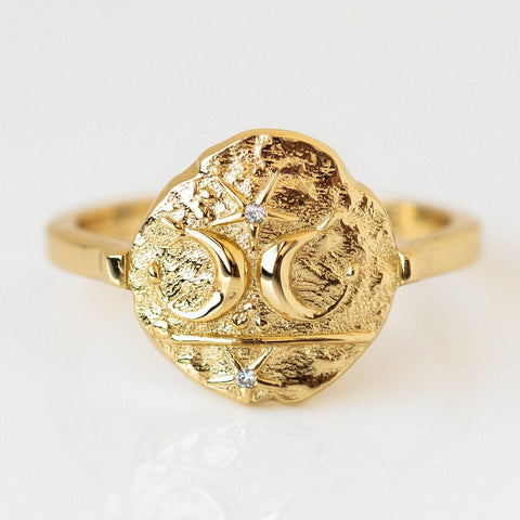 Palmer Ring unique statement textured yellow gold celestial jewelry