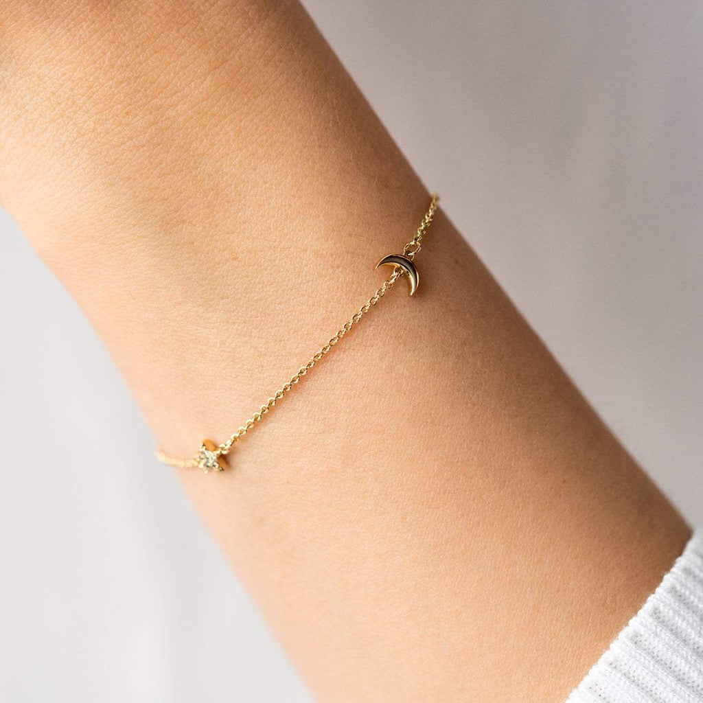 Star and Moon Celestial Inspired Minimal Bracelet Yellow Gold Five and Two