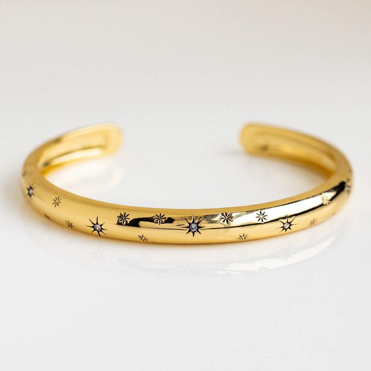 Celestial Star Inspired Yellow Gold Cuff Bracelet CZ Five and Two