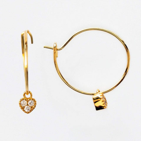 Heart Charm CZ Mini Hoop Earrings Five and Two Yellow Gold