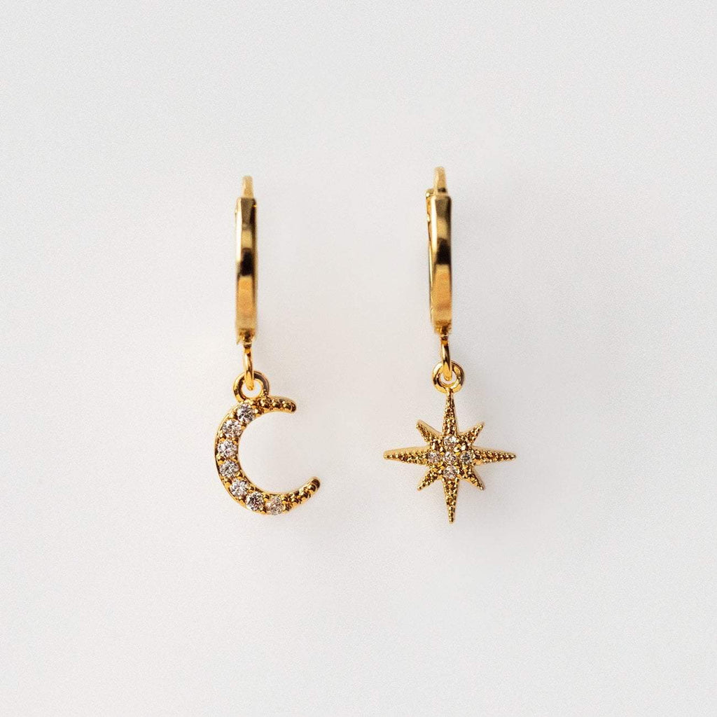 Gold dangling earrings moon star charms