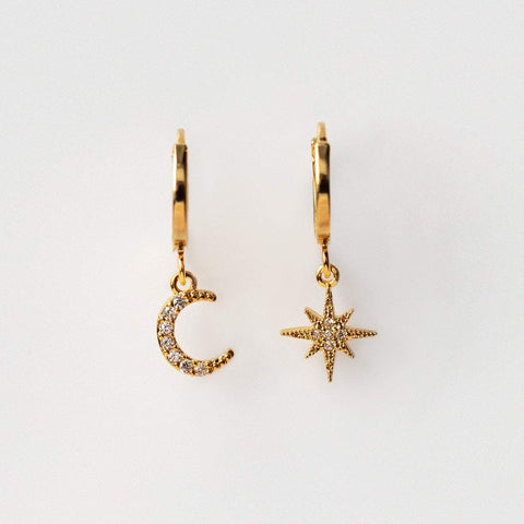 Chloe Star and Moon Hoop Earrings