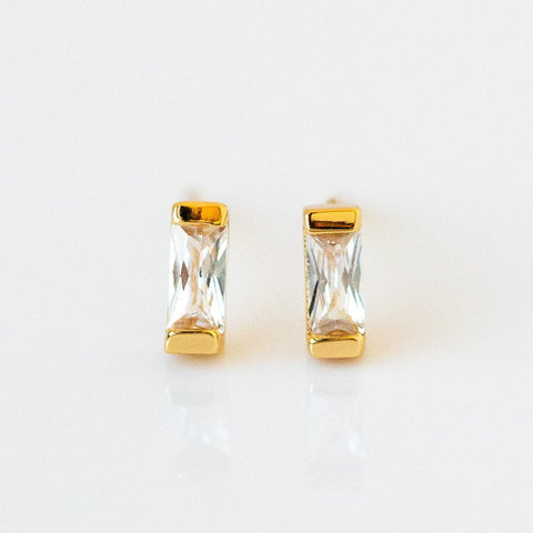 Small Dainty Baguette Stud Earrings Yellow Gold Five and Two