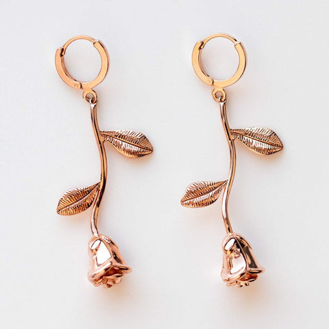 dangling rose charm statement earrings unique rose gold jewelry