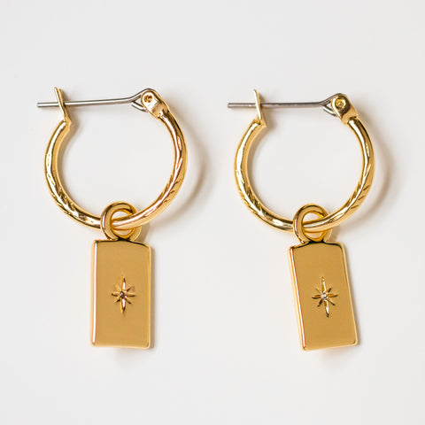 cleo earrings unique yellow gold star hoop huggies