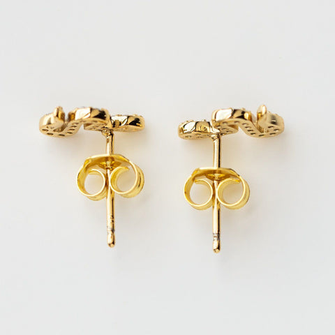 Tyler Petite Snake Stud Earrings  dainty yellow gold studs