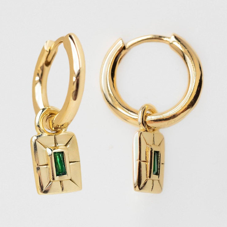 Savannah Green Emerald Charm Hoop Earrings unique dainty modern yellow gold jewelry