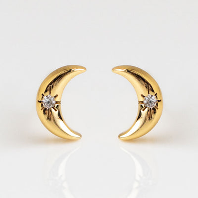 Raven Petite Moon Stud Earrings dainty yellow gold celestial inspired jewelry five and two