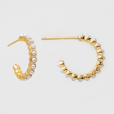 Prima Pearl Hoop Earrings dainty pearl hoops yellow gold modern jewelry