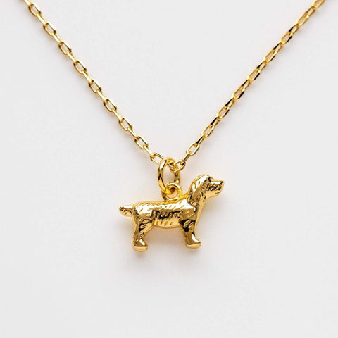 Small Ireland Dog Charm Yellow Gold Necklace Pendant Five and Two