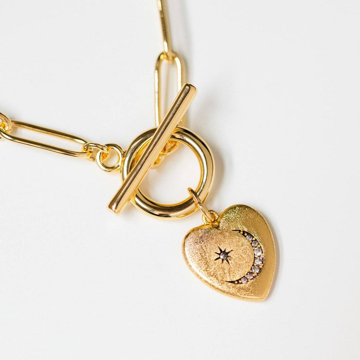 heart charm necklace pendant unique yellow gold jewelry