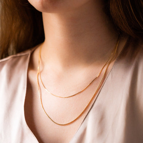 phoebe necklace unique yellow gold double chain jewelry layered necklace