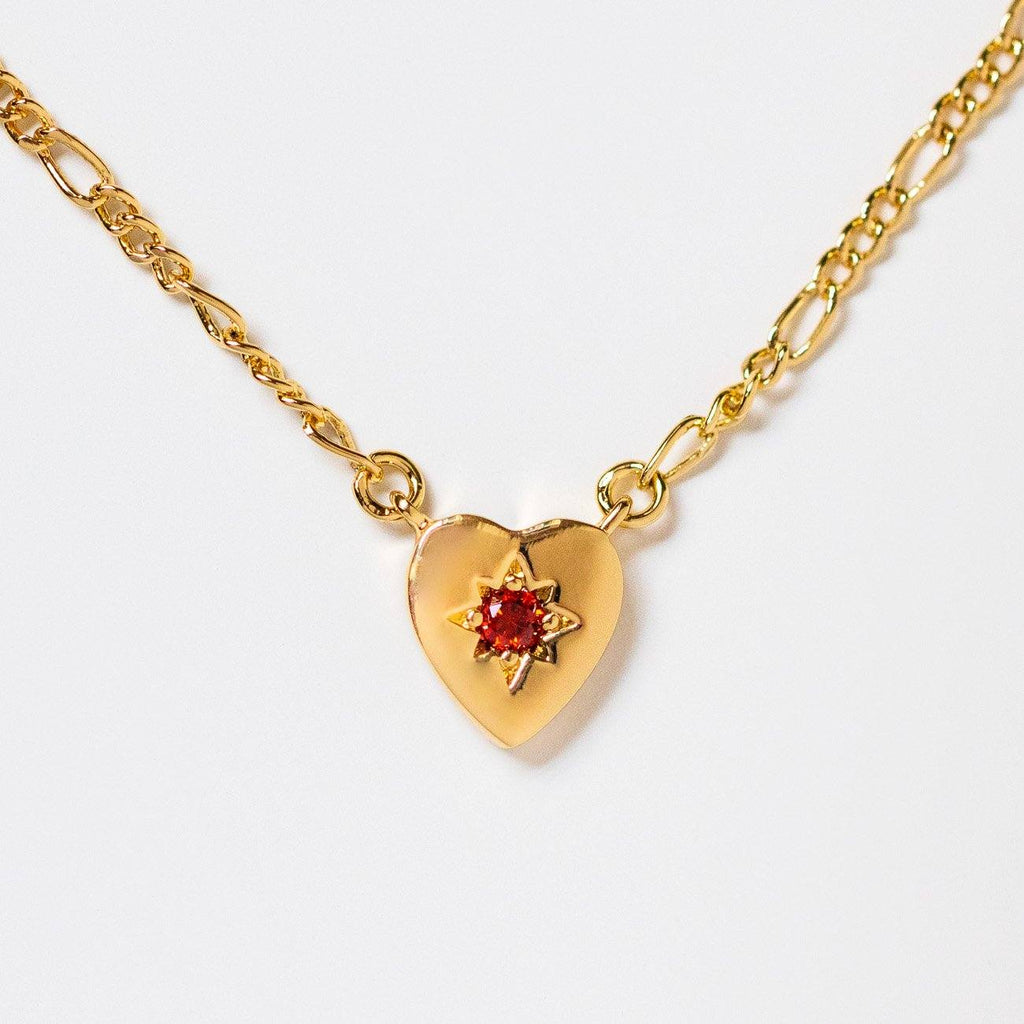 alice necklace with red garnet heart shaped yellow gold jewelry