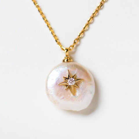 arie pearl pendant drop necklace unique yellow gold jewelry