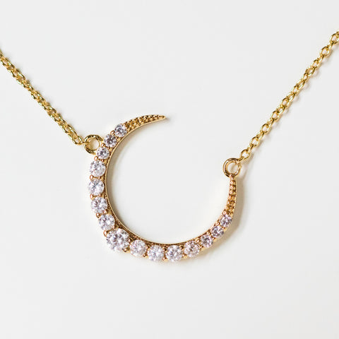 jade necklace crescent moon cz necklace celestial yellow gold jewelry