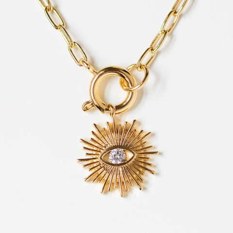 sahara unique yellow gold necklace pendant eye jewelry