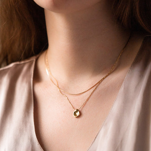 devin layered unique yellow gold necklace
