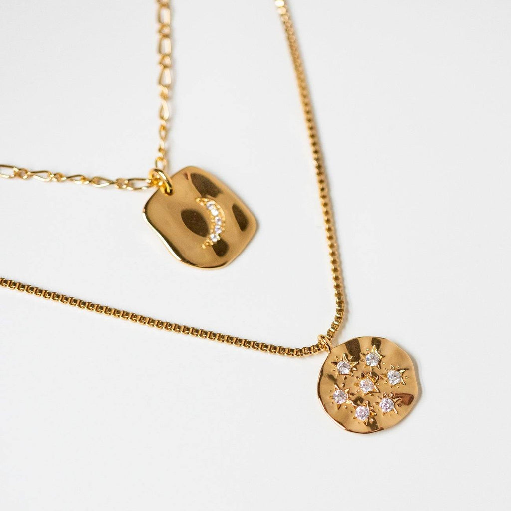 sonora layered yellow gold celestial necklace