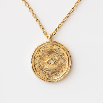 Morgan Eye Coin Necklace dainty yellow gold toggle necklace celestial inspired jewelry