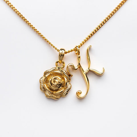 K Initial Necklace with Rose Pendant