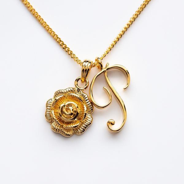 monogram necklace, pendant, rose initial necklace, initial necklace