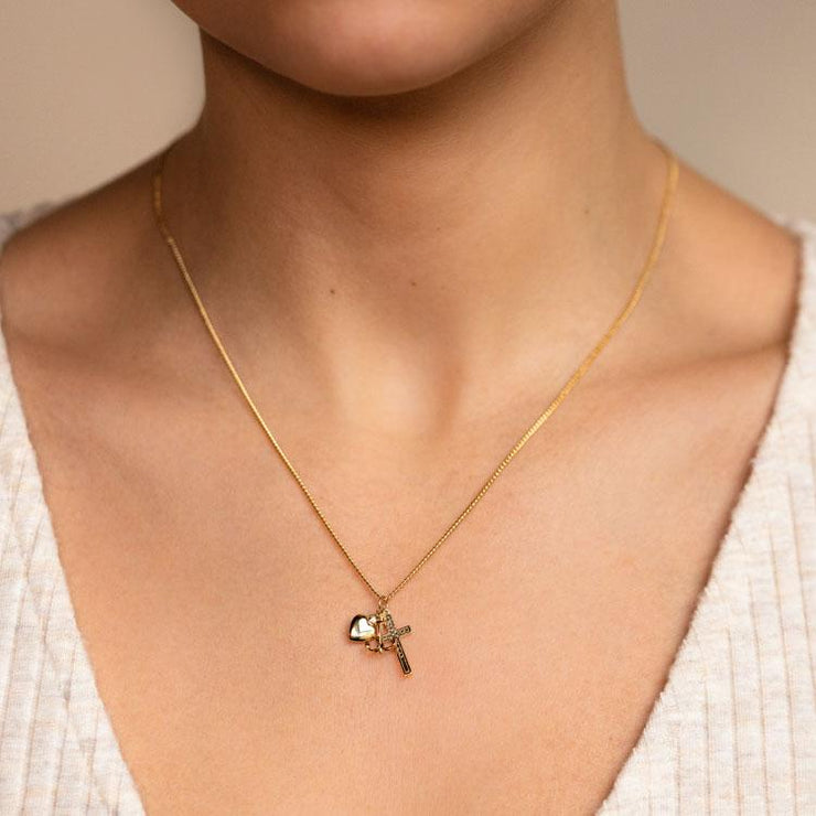 Ruby Charm Necklace cross heart anchor charm yellow gold jewelry five and two