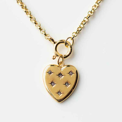 Luna Heart Charm Necklace modern minimal yellow gold jewelry five and two