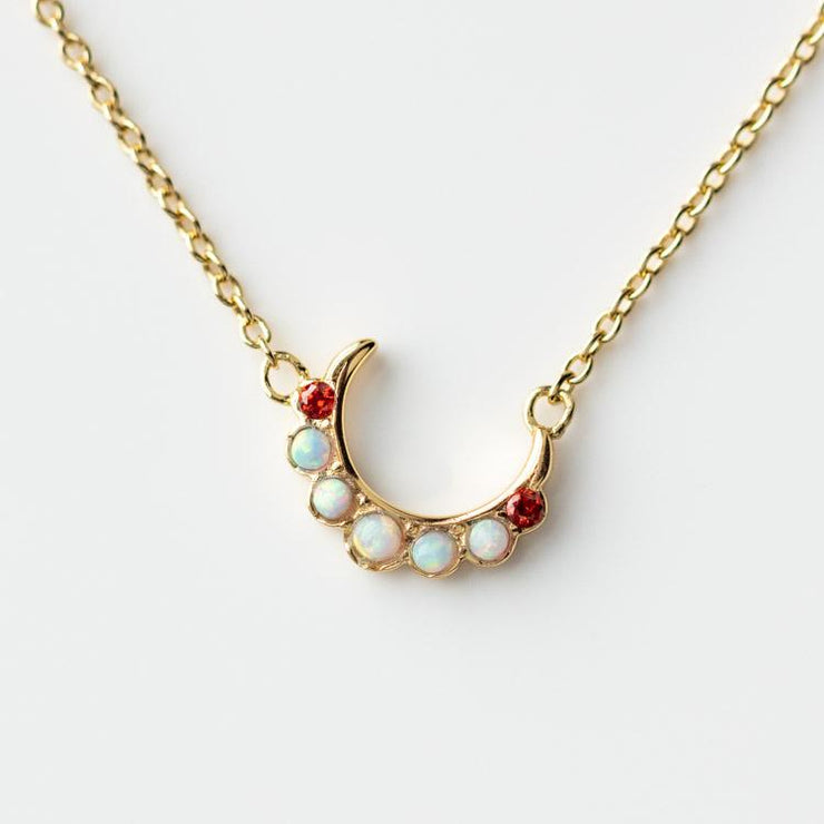 Camille Stone Moon Necklace celestial inspired yellow gold minimal jewelry five and two