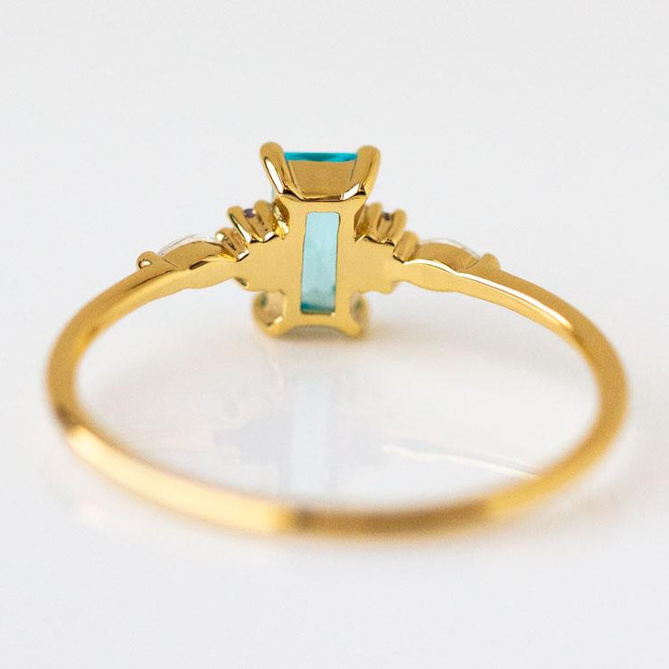 Tempo Baguette Ring unique funky yellow gold vintage inspired jewelry
