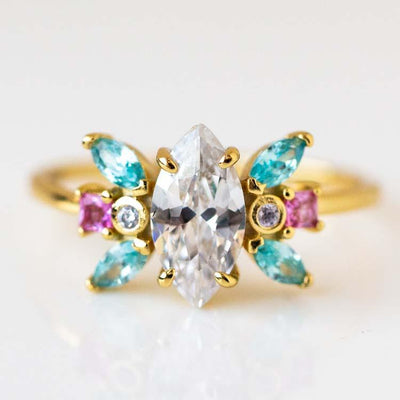 Rhapsody Marquise Ring statement ornate yellow gold jewelry