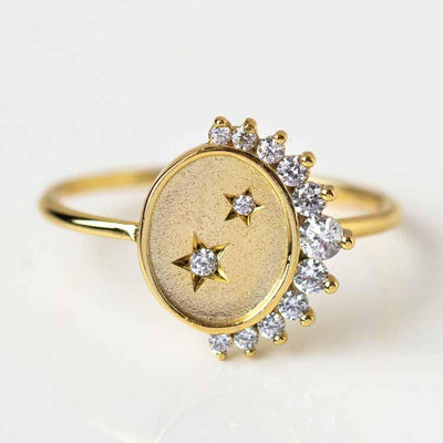 Stellar Stars & Crescent Moon Coin Ring celestial inspired yellow gold minimal jewelry