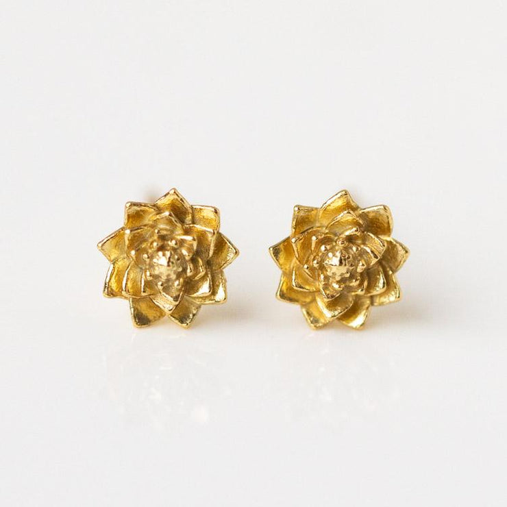 Birth Month Flower Earrings yellow gold personalized floral inspired minimal jewelry