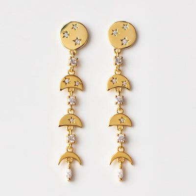 Moon Phases Drop Earrings celestial inspired yellow gold moderni minimal jewelry