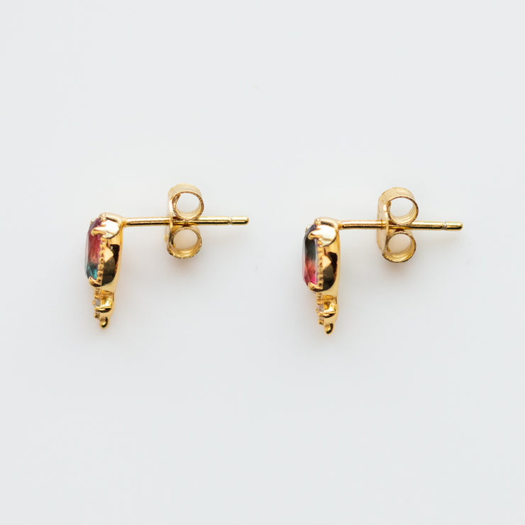 Sunrise Tourmaline Stud Earrings yellow gold unique dainty jewelry
