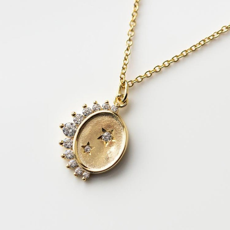 Stellar Stars & Crescent Moon Coin Necklace celestial inspired yellow gold minimal jewelry