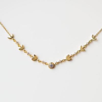 Moon Phases Necklace celestial inspired yellow gold dainty jewelry
