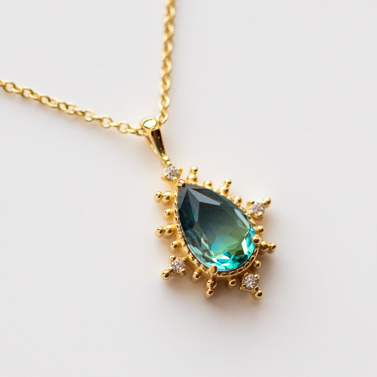 Nightfall Tourmaline Pendant Necklace yellow gold minimal modern dainty jewelry